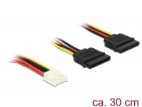 Power Kabel, 4 Pin Floppy Buchse - 2x SATA 15 Pin Buchse, 30cm