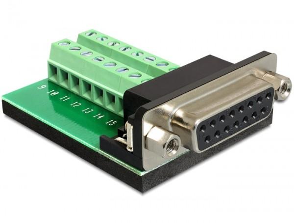 Adapter Sub-D 15 Pin Gameport Buchse - Terminalblock 16 Pin