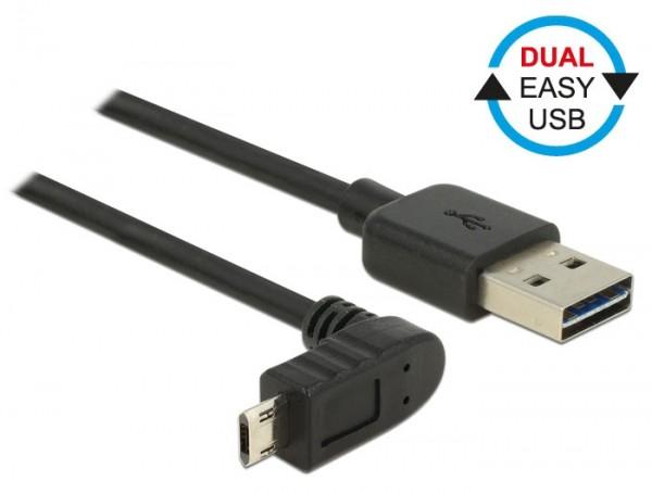 EASY USB 2.0 Kabel A Stecker – micro B Stecker oben/unten gewinkelt schwarz