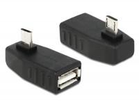 Adapter USB micro-B Stecker - USB 2.0-A Buchse OTG 270° gewinkelt