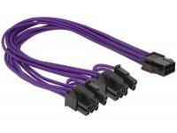 Stromkabel PCI Express 6 Pin Buchse > 2 x 8 Pin Stecker Textilummantelung violett