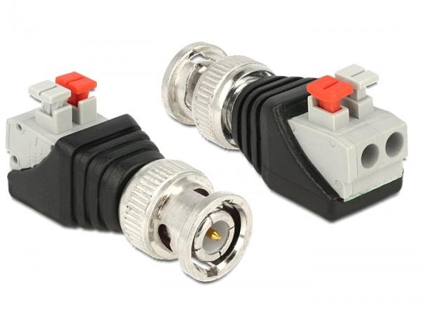 Adapter BNC Stecker - Terminalblock mit Drucktasten 2 Pin
