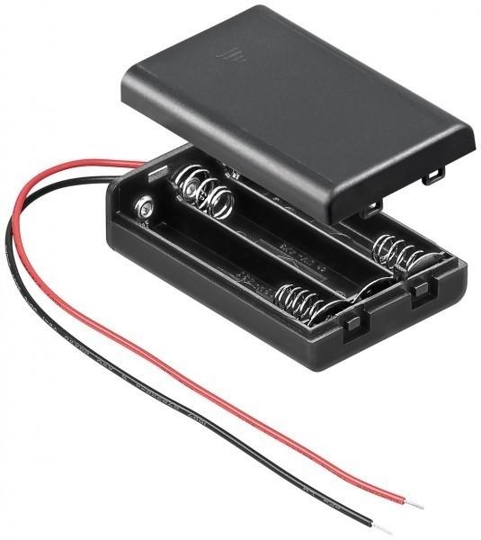 Batteriehalter für 3x Microzellen AAA mit 150mm Anschlusskabel und geschlossenem Gehäuse