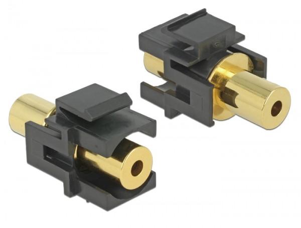 Keystone Klinke 3,5mm 4 Pin Buchse > Buchse vergoldet schwarz