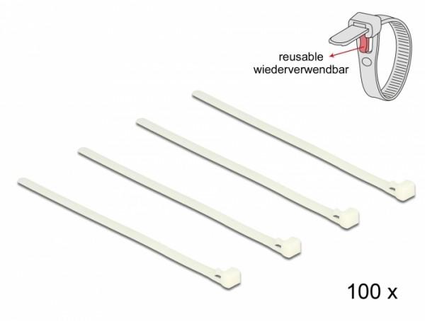 Kabelbinder lösbar weiß L 200 x B 7,2 mm 100 Stück