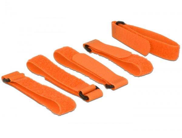 Kabelbinder, Klettverschluss L 300 mm x B 20 mm 5 Stück mit Schlaufe orange