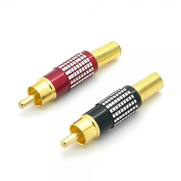 Cinchstecker, Metallausführung mit Knickschutz für Kabel Ø6-8mm, vergoldet, Lötm