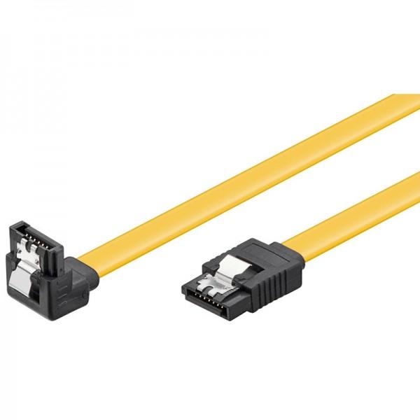 S-ATA Kabel 1.5GBits / 3GBits / 6GBits 90° nach unten gewinkelt gelb