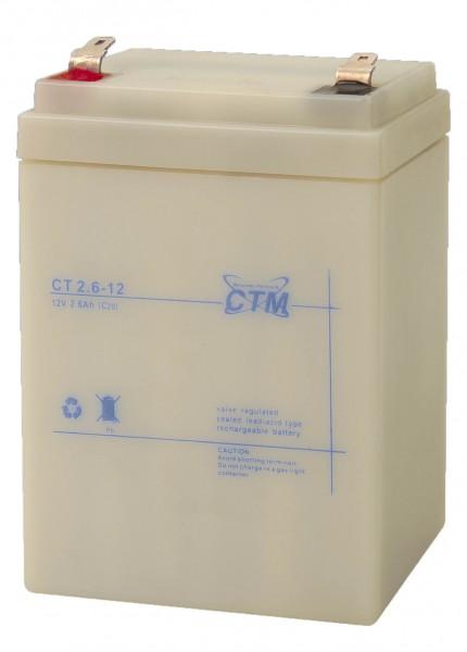 CTM CT2.6-12 wartungsfreier AGM-Bleiakku 12V / 2,60Ah Fast-on 4,8mm
