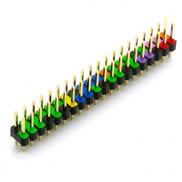 40 Pin GPIO Header für Raspberry Pi, farblich kodiert