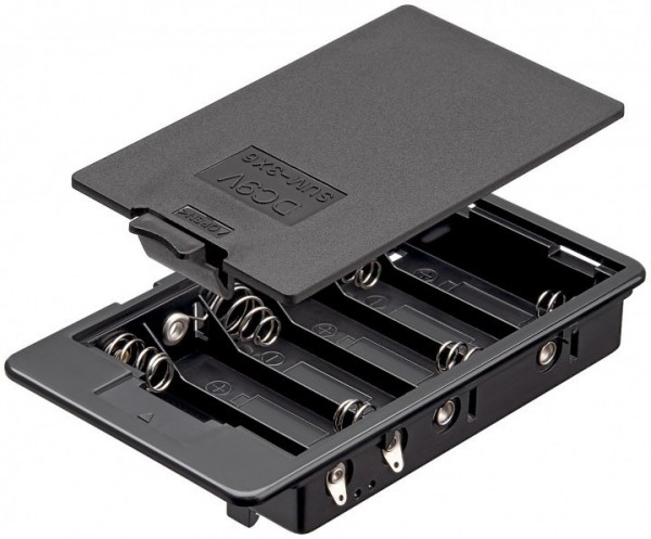 Batteriehalter für 6x Mignon mit Lötfahne und geschlossenem Gehäuse