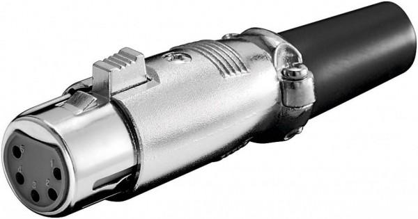 XLR-Kupplung, 5-polig, mit vergoldeten Kontakten und geschraubter Zugentlastung