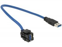 Keystone USB3.0 A Buchse > USB3.0 A Stecker 250° mit Kabel