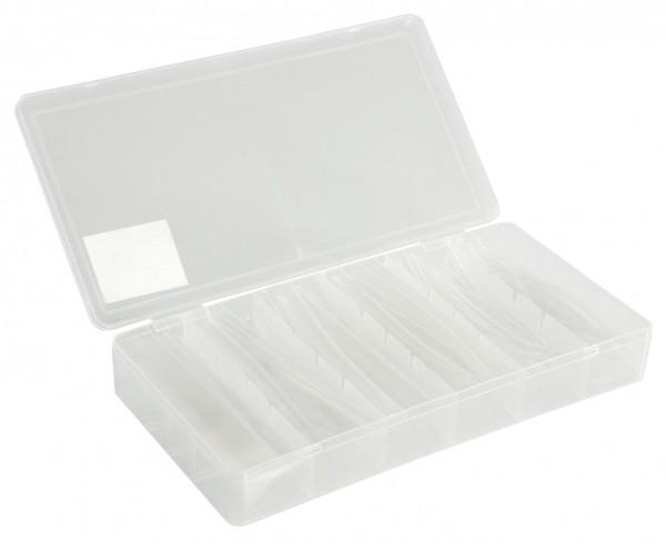 Schrumpfschlauch-Set, 100-teilig in Sortimentsbox, transparent