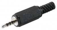 Klinkenstecker, 2,5mm, 4 polig, Kunststoffausführung mit Knickschutz, Lötmontage