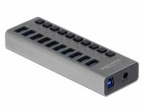 Externer USB 3.0 Aluminium Hub mit 10 Ports + Schalter