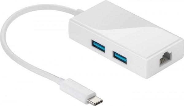 USB 3.1 Multiportadapter C Stecker - 2 x 3.0 A Buchse / Ethernet-Anschluss