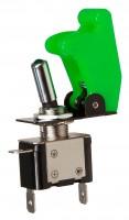 Kippschalter mit Schutzkappe und LED, 12V / 35A, grün