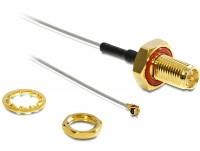Antennenkabel RP-SMA Buchse zum Einbau - MHF/U.FL kompatibler Stecker 100 mm spritzwassergeschützt