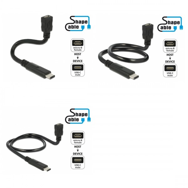 Shape USB 2.0 Hi-Speed Adapterkabel C Stecker – Micro B Buchse schwarz