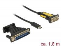Adapter USB Type-C - 1 x Seriell DB9 RS-232 + Adapter DB25, Prolific
