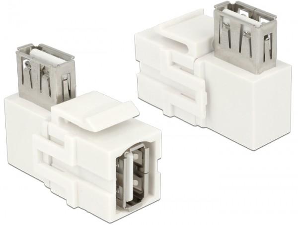 Keystone USB2.0 A Buchse > USB2.0 A Buchse 90° weiß