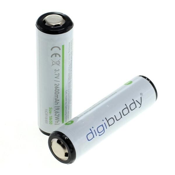 digibuddy 18650 Li-Ion Akku mit integriertem PCB 2600mAh - 2 Stück in Kunststoffbox