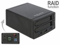 """Externes Gehäuse für 2x 2.5"""" SATA HDD / SSD mit RAID + 3 Port USB 3.0 Hub"""