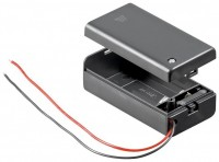 Batteriehalter für 1x Blockbatterie 9 V mit Anschlusskabel und geschlossenem Gehäuse