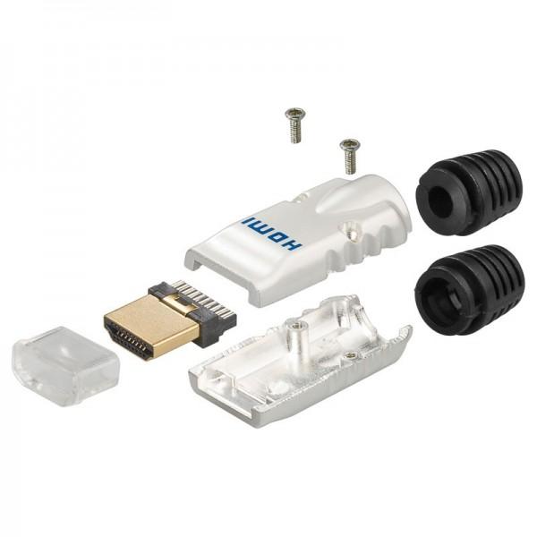 HDMI A-Stecker, 19 polig, Metallausführung mit Knickschutz, Lötmontage