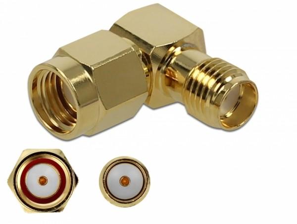 Adapter RP-SMA Stecker zu SMA Buchse 90° 10 GHz