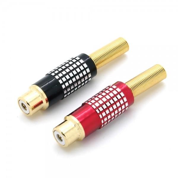 Cinchkupplung, Metallausführung mit Knickschutz für Kabel Ø6-8mm, vergoldet, Löt