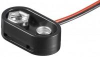 Batterieclip für 9V Blöcke, T-Form, Plastikgehäuse mit Kragen