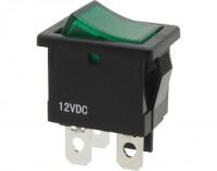 Wippschalter, 1-polig, schwarz, grün beleuchtet (12 V), ON-OFF