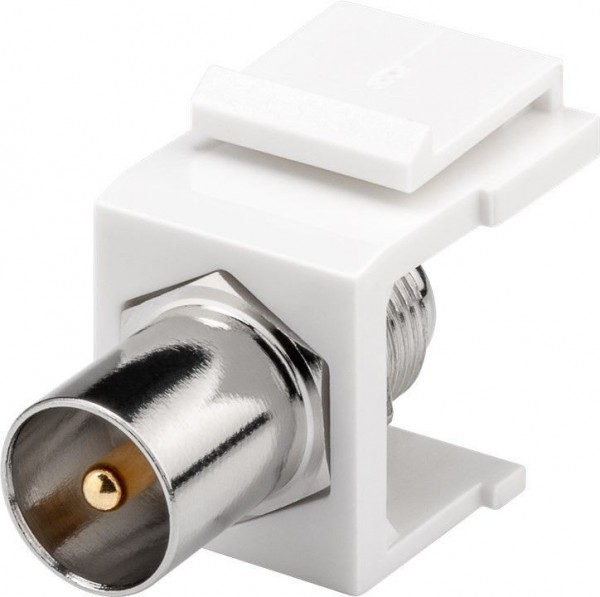 Keystone IEC Stecker > F-Buchse, weiß
