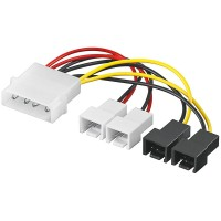 Adapter Power Kabel 4 pol. 5.25 Stecker - 2x 3 pol. 12V + 2x 3 pol. 5V
