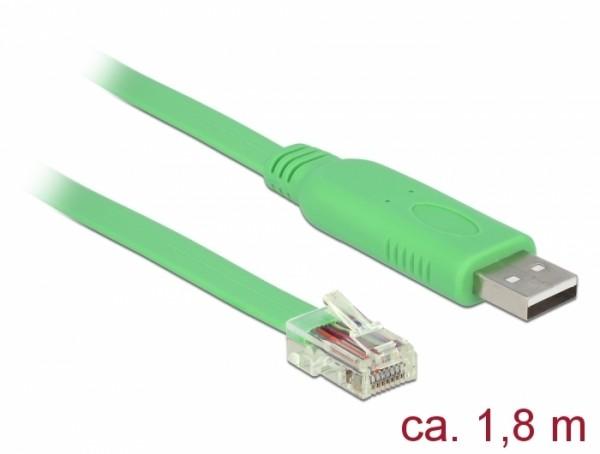 Adapterkabel USB 2.0 Typ A Stecker – 1x Seriell RS-232 RJ45 Stecker grün 1,80 m