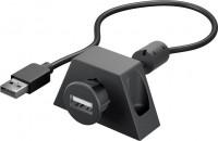 USB 2.0 Hi-Speed Verlängerungskabel zum Einbau, mit Montagehalterung, schwarz