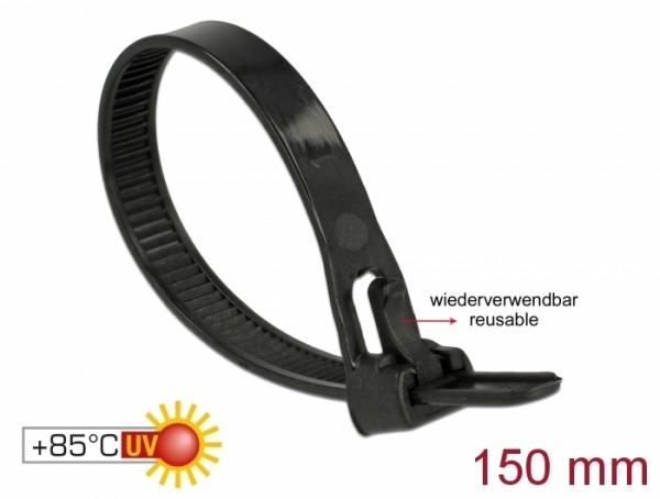 Kabelbinder wiederverwendbar hitzebeständig L 150 x B 7,5 mm 100 Stück schwarz