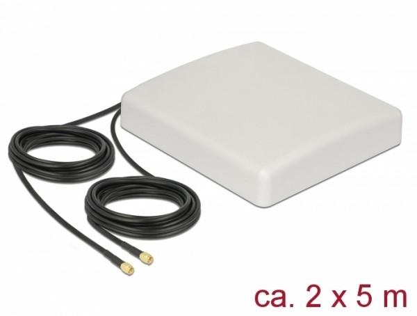 LTE MIMO Antenne 2 x SMA Stecker 8 dBi direktional mit Anschlusskabel RG-58 5 m weiß outdoor