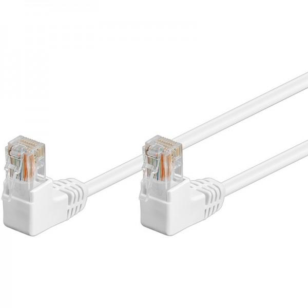 CAT 5e Netzwerkkabel, U/UTP, 2x 90° gewinkelt, weiß