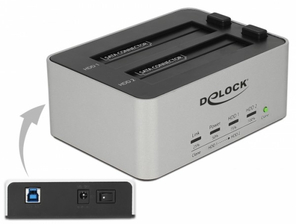 USB 3.0 Dual Dockingstation für 2x SATA HDD / SSD mit Klon Funktion im Metallgehäuse