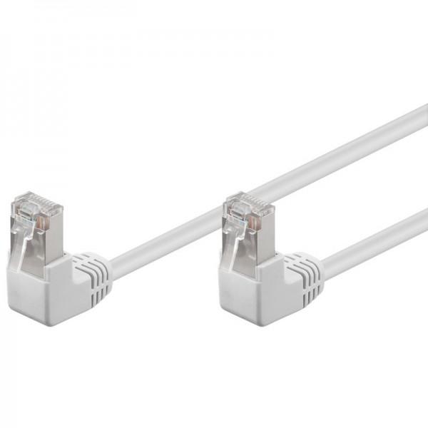 CAT 5e Netzwerkkabel, F/UTP, 2x 90° gewinkelt, weiß