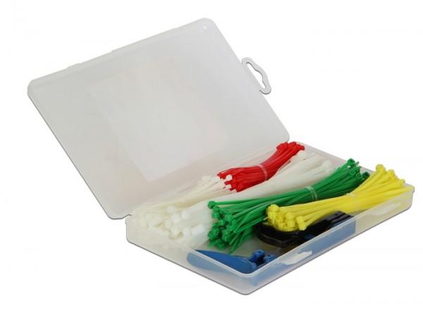 Kabelbinder Sortimentsbox 350-teilig farbig mit Zange