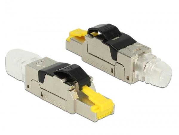 CAT 8 RJ45 Metall-Stecker zur werkzeugfreien Montage feldkonfektionierbar