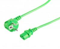 Kaltgeräte Netzkabel Schutzkontakt-Stecker abgewinkelt – IEC320-C13 Buchse grün