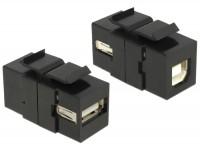 Keystone USB2.0 A Buchse > USB2.0 B Buchse schwarz