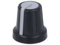 Drehknopf für gerändelte 6,0mm Achse, mit Anzeige, 16x16mm, schwarz/grau
