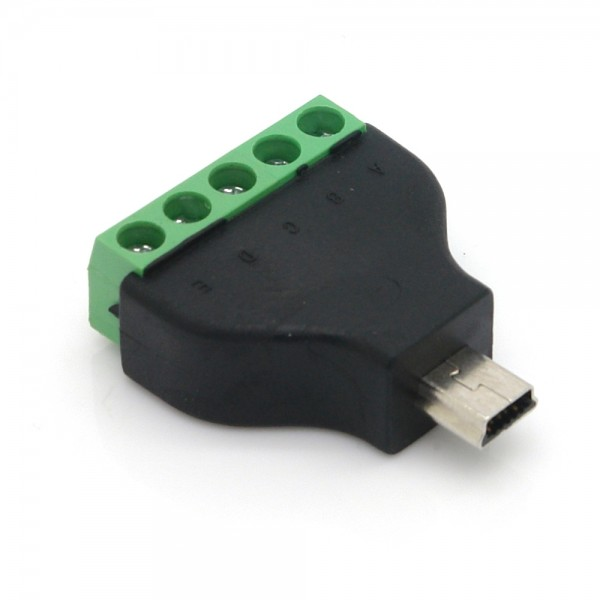 Adapter, 5 Pin Terminalblock - Mini USB 2.0 Typ B Stecker