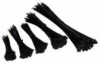 Kabelbinder Set, 500er-Pack, schwarz, 5 Größen 100/140/160/200/300mm